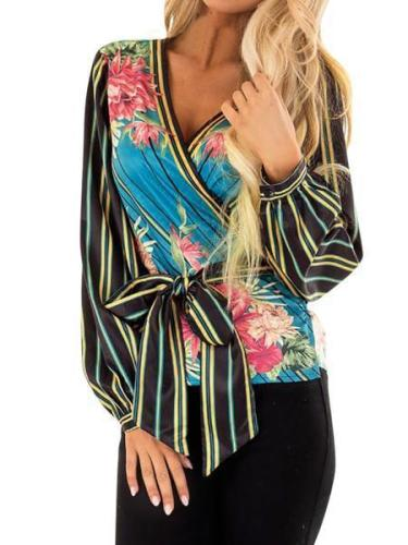 Sexy V Neck Printed Colour Bubble Sleeves Belted Cardigan