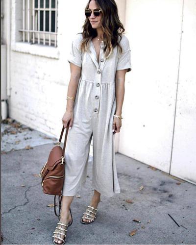 EBUYTIDE Summer Short Sleeve Plain Button Jumpsuit