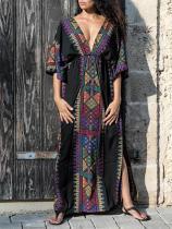 Bohemia V-neck Waisted Kaftan Cover-ups