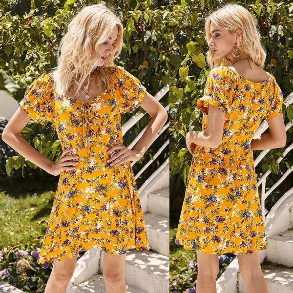 Women'S Printed Floral Square Collar Slim Fit Slim Holiday Casual Dress Yellow