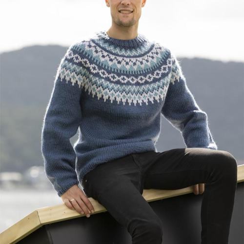 Blue-grey round neck pattern Icelandic striped sweater TT004