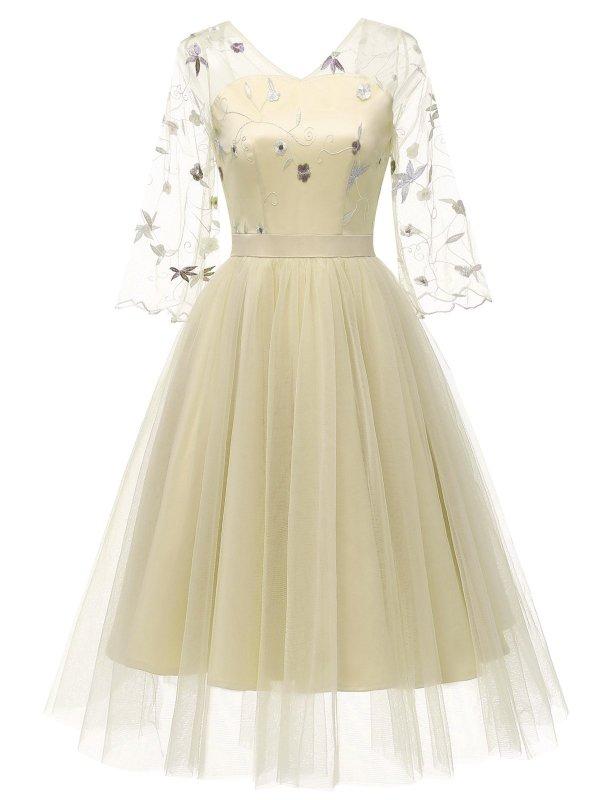 1950s Lace Embroidery Mesh Chiffon Dress