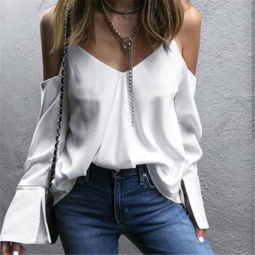 Sexy Off-The-Shoulder   V-Neck Sling Halter Shirt Top