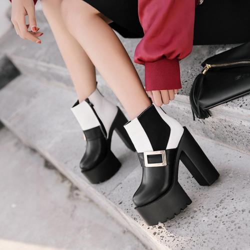 Color Block Side Zipper Platform High Chunky Heels Short Boots