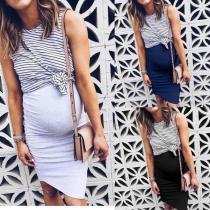 2020 Dress For Pregnant Women Pregnancy Women New Fashion Solid Color Sleeveless Maternity Pregnat Comfortable Midi Dresses