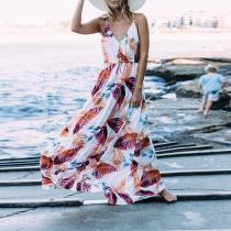 Bohemian Printed Colour Pleated Sleeveless Dress