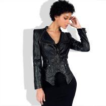 Irregular Lapel Zippers Women Slim Motorcycle Short PU Jacket