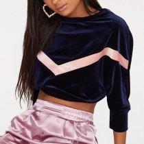 Gold Velvet Pullover Casual Sweatshirt