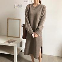 Fashion V Neck Split Loose Knitted Maxi Dress