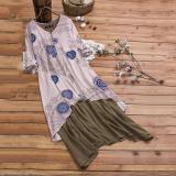 Casual Long Sleeve V Neck Printed Colour Splicing Dress