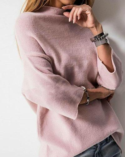 Solid High Neck Knitted Top