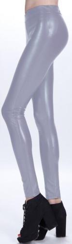 Pure Color Regular Waist PU Slim Leggings