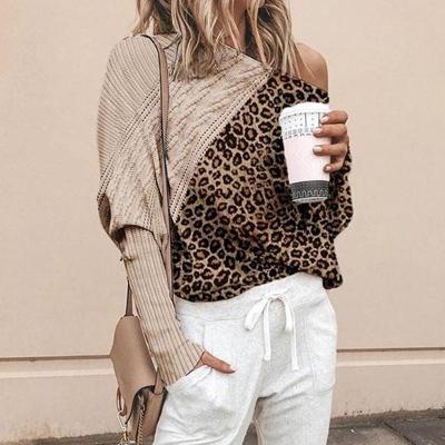 Women's Fashion Leopard Print Sloping Shoulder Loose Blouse