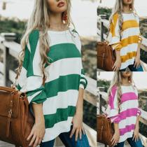 Round Neck  Loose Fitting  Striped  Sweatshirts