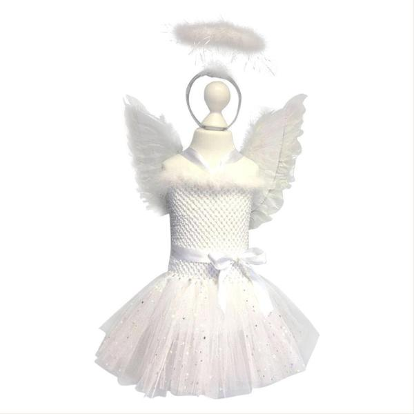Girls Angel Dress Costume Halloween Party Stage Props Set Tulle Tutu Dress Up