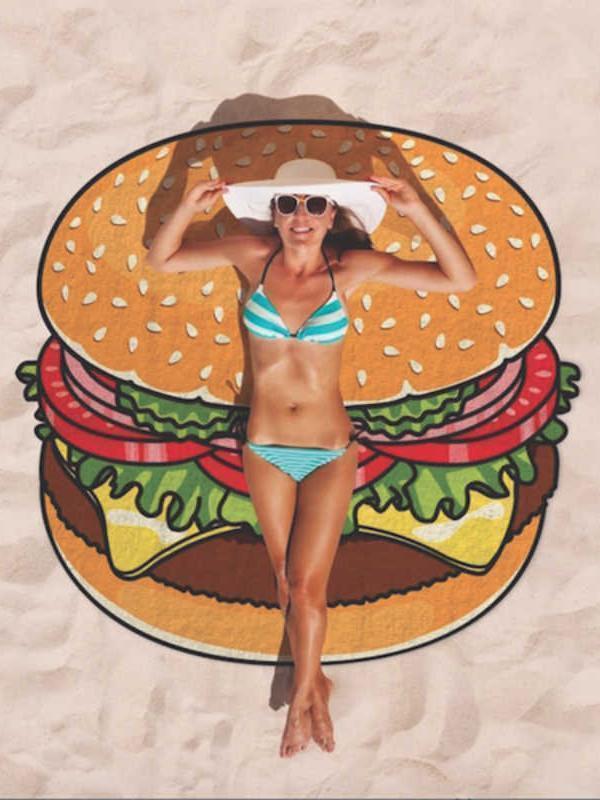 Beautiful Hamburger Vacation Round Scarve Shawl Beach Mat