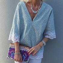 Fashion V Neck Printed Colour Inwrought Short Sleeve Blouse