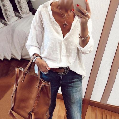 Women's Fashion Turndown Collar Printed Color Long Sleeve Blouse