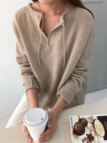 Fashion V Collar Long   Sleeve Loose Hooded Knitted Sweater Blouse