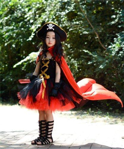 Girls Halloween Pirate Costume Cosplay Tutu Dress Birthday Party Dress Up