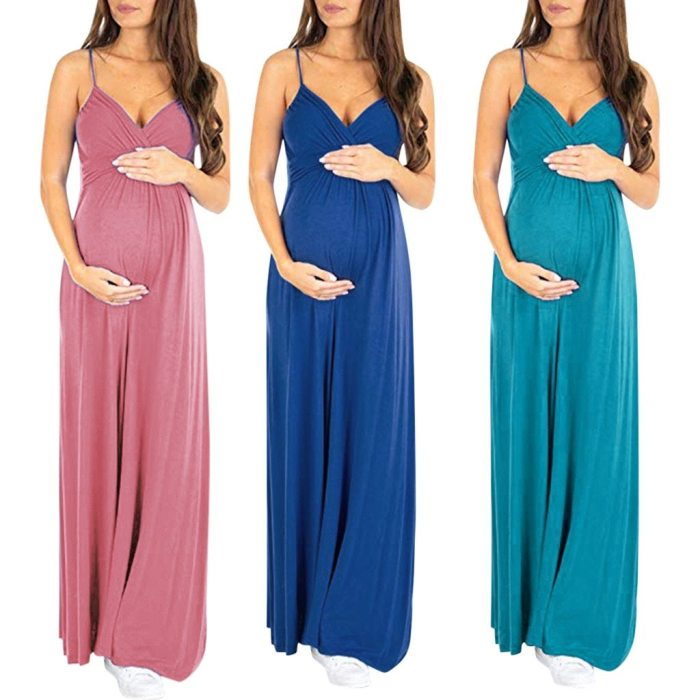 Women Pregnant Maternity Sexy Solid Sleeveless Strap Backless Long Dress Wedding Party Dresses Clothes Pregnant maternity dress