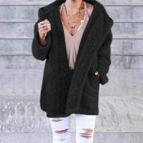 Winter Pure Color Fashion Warm Coat