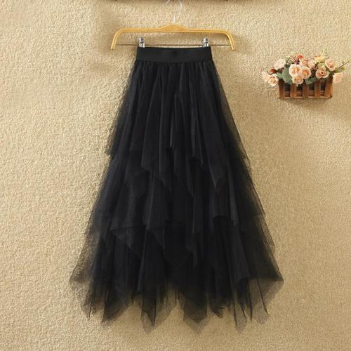 Tulle Skirts Womens Faldas Mujer Moda 2020 Fashion Elastic High Waist Mesh Tutu Maxi Pleated Long Midi Saias Jupe Women's Skirt