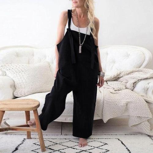 EBUYTIDE Fashion Black Oversized Wide Leg Sling Jumpsuit