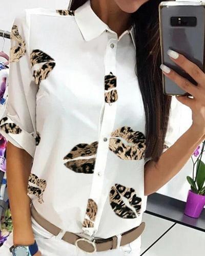 Lip Print Button Up Shirt