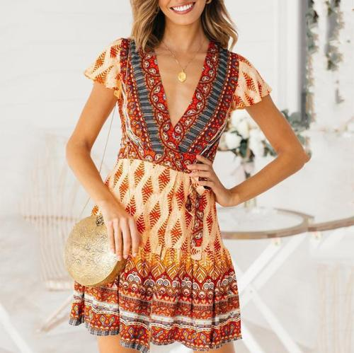 Fashion V Neck Belted Waist Printed Colour Mini Dresses