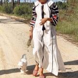 Boho Print Tassel 3/4 Sleeve Maxi Dress