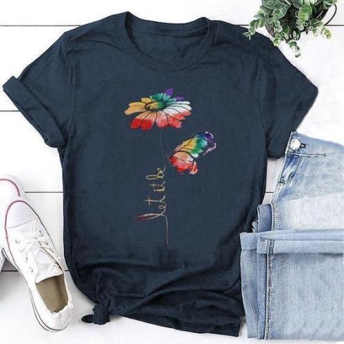 Fashion Flower Print Short Sleeve T-shirt