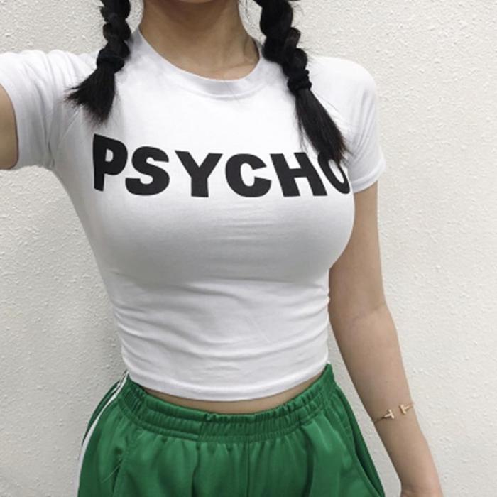 Women Crop Tops Streetwear Graphic Tee