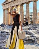 Fashion One Shoulder Sleeveless Color Block Maxi Dress