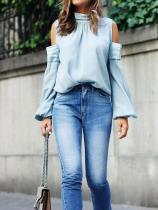 Fashion Sexy Shoulder Loose Solid Color Top