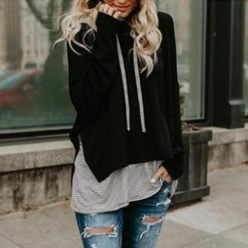 Long Sleeves Striped Stitching Hoodies