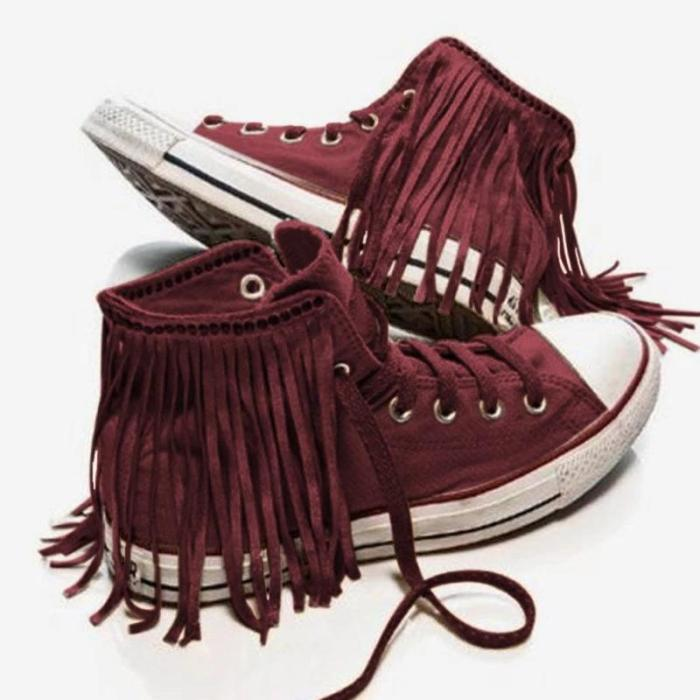 White Cloth Lace-up Tassel Boots