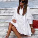 Solid Color Long Sleeve Mini Dress