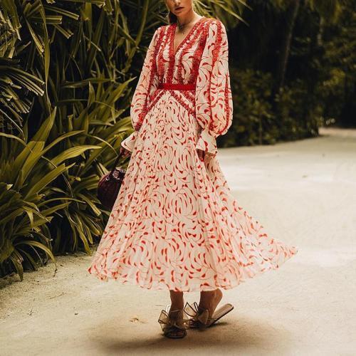 Women's V-Neck Print Long Sleeve Dress