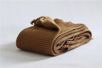50*60Inch Solid Color Home Car Aircondition Knitted Throw Blankets for Beds Knit Plaids Bedspread Bed Sofa Cover Manta para sofa