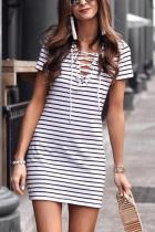 Fashion Short Sleeves Stripe Mini Dress