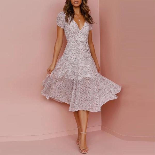 Fashionable short sleeve small floral elegant dress