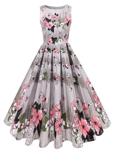 EBUYTIDE Women's Pleated Printed Vintage Dress