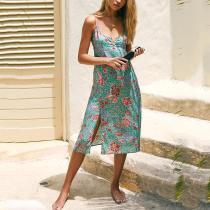 V-neck sleeveless floral print split dress