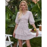 Women'S Floral Floral V-Neck Slim Backless Sleeveless Dress