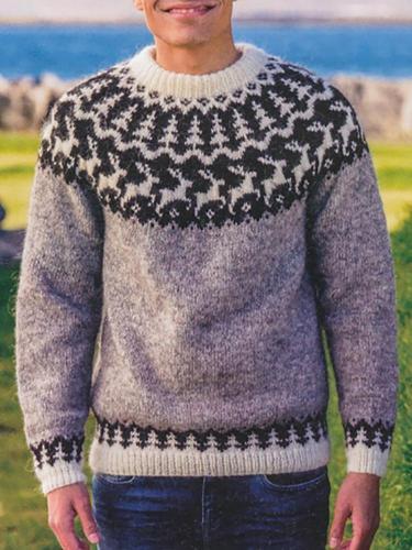 Grey Fawn Pattern Knit Icelandic Sweater TT004