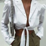 Long-sleeved Cardigan, Cropped Blouse, Short Crop Top