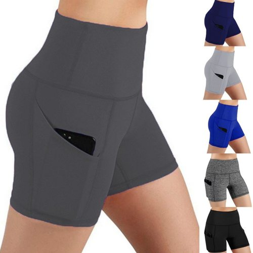 Lady Solid pocket High-waist Hip Stretch Underpants Running Fitness Yoga Shorts Exercise Running Shorts Workout Fitness