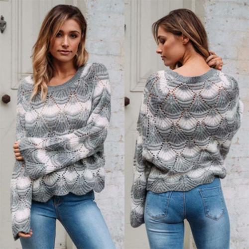 Openwork Colorblock Hem Autumn Wavy Side Knit Sweater