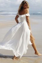 Maxi Dress, Boho Dress, Beach Dress,  Off Shoulder , White Cloud